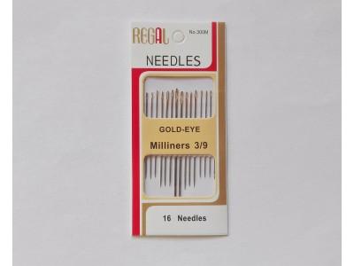 Комплект игли за шиене със  златни уши