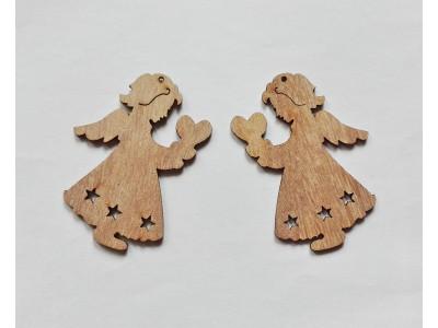 4002 Дървена фигурка за декорация - ангелче 1 бр.