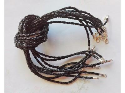 1284 Кожен шнур плетен - черен 1 бр.