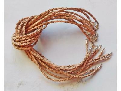1285 Кожен шнур плетен - бежов 1 бр.