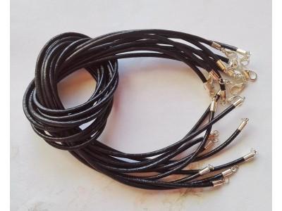 1286 Кожен шнур - черен, 3мм 1 бр.