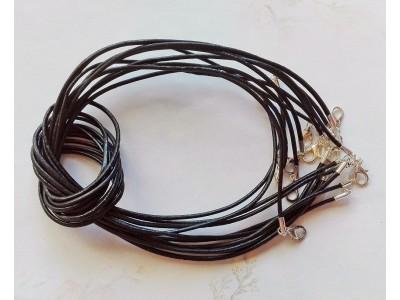 1288 Кожен шнур - черен, 2мм 1 бр.