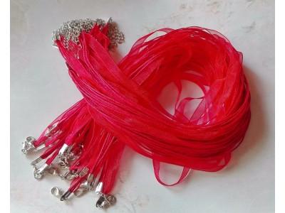 1312 Верижка органза - цвят червен 1 бр.
