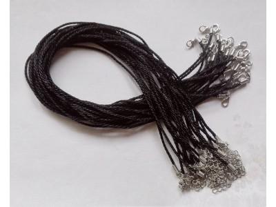 1384 Копринен шнур - черен, 2мм 1 бр.