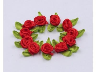 5001 Сатенени рози за декорация - червени 10 бр.