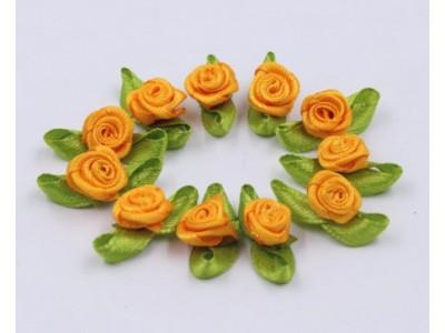 5002 Сатенени рози за декорация - жълти 10 бр.