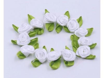 5003 Сатенени рози за декорация - бели 10 бр.