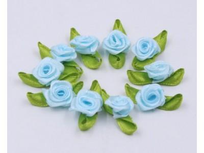 5004 Сатенени рози за декорация - светло сини 10 бр.