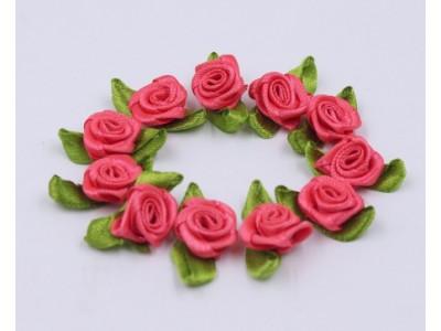 5005 Сатенени рози за декорация - розово червени 10 бр.