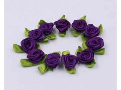 5006 Сатенени рози за декорация - тъмно лилави 10 бр.