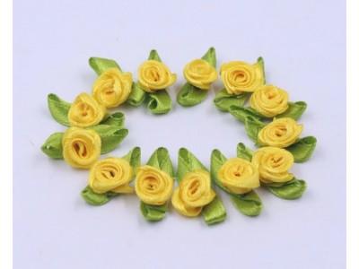 5007 Сатенени рози за декорация - светло жълти 10 бр.