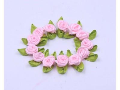 5008 Сатенени рози за декорация - светло розови 10 бр.