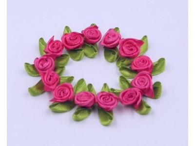 5009 Сатенени рози за декорация - розови 10 бр.