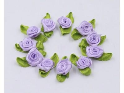 5010 Сатенени рози за декорация - светло лилави 10 бр.
