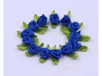 5011 Сатенени рози за декорация - кралско сини 10 бр.