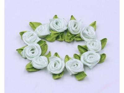 5012 Сатенени рози за декорация - бледо зелени 10 бр.