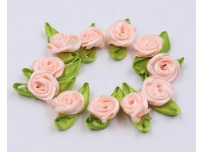 5013 Сатенени рози за декорация - праскова 10 бр.
