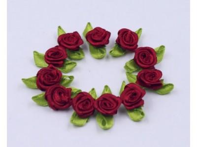 5014 Сатенени рози за декорация - тъмно червени 10 бр.
