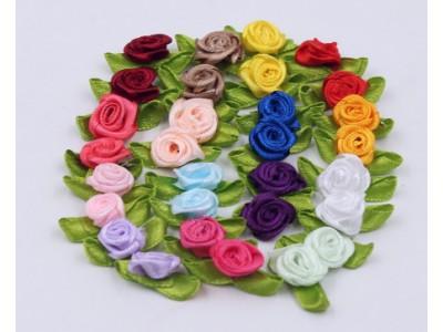 5016 Сатенени рози за декорация - микс 15 бр.