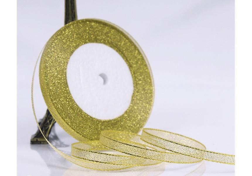 Сатенена лента за декорация - цвят злато