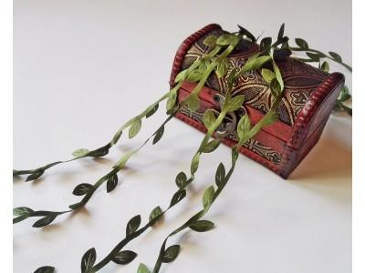 Декоративен ширит - листа - цвят тъмно зелен